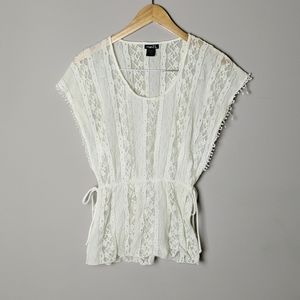 Rue 21 White Lace Sheer Short Sleeve Top Small